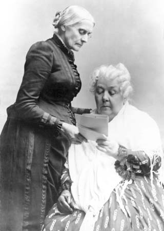 Susan B. Anthony, standing, with Elizabeth Cady Stanton