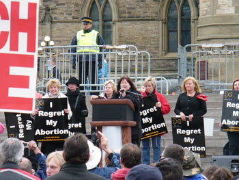 That's me speaking last year at the Silent No More Awareness Campaign Canada event at the National March for Life in Ottawa.