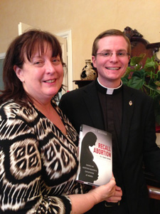 "I had a chance to give a copy of my book, ""Recall Abortion,"" to newly ordained Father Simon Carian of the Archdiocese of Santa Fe."