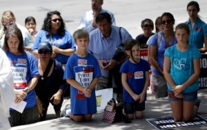 Pro-lifers pray in Austin as the Texas Legislature votes on new abortion laws this past summer.