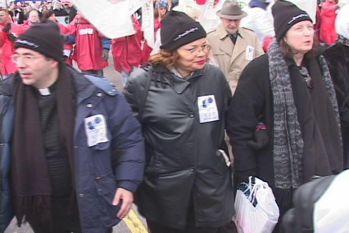 Here I am at the March for Life in 2005 with Father Frank Pavone and Alveda King.